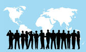 Globe foule bleu business — Vecteur