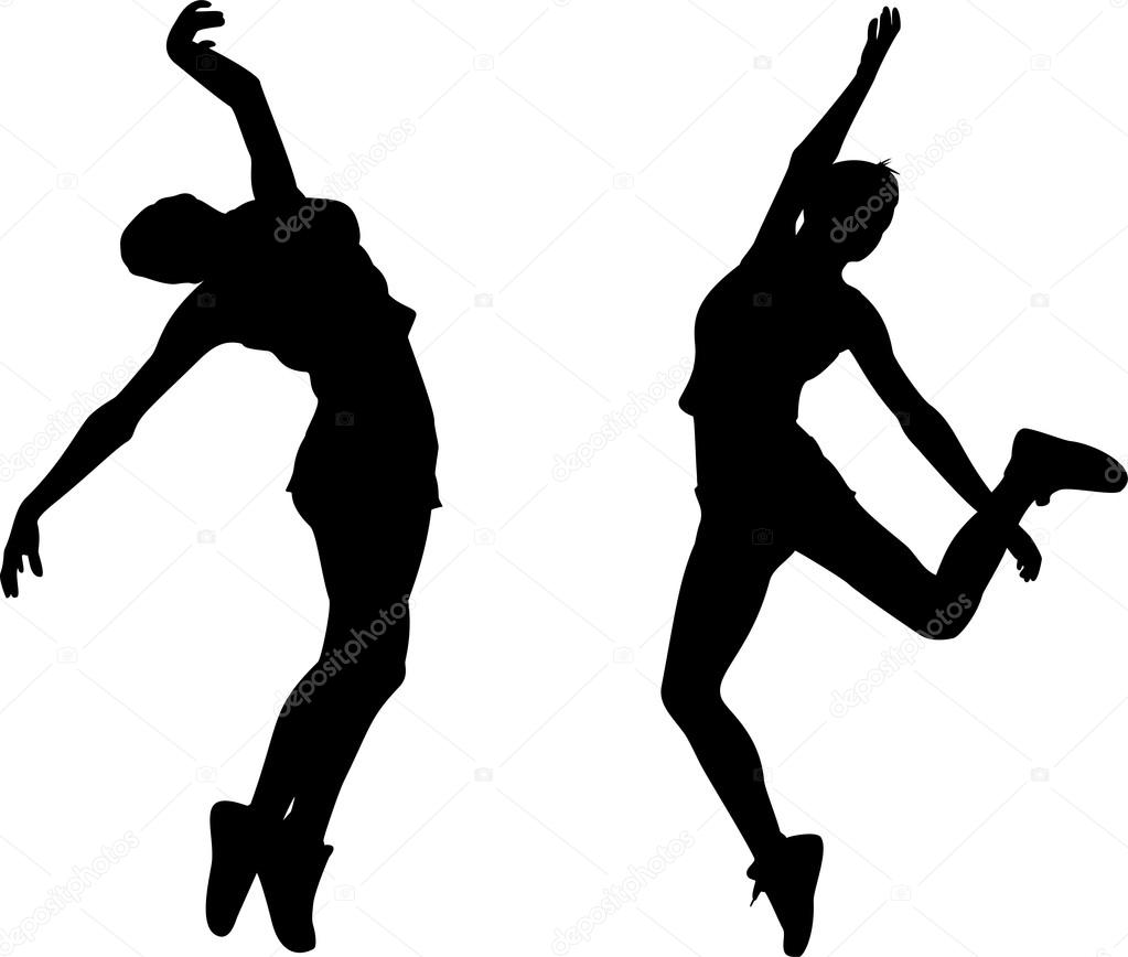 hiphop woman dances silhouette vector � stock vector