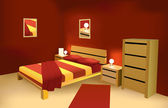 Red modern bedroom vector — Stock Vector