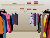 Clothes in shop vector — Vetor de Stock