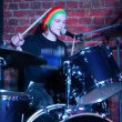 Drummer playing on dums live on stage — Stock Video