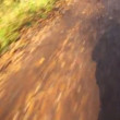 First person video by bicyclist going on non-asphalted road - Stockfoto
