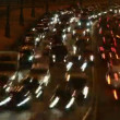 Part of brisk night movement of cars on modern highway.  — Stock Video