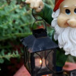 Stature of dwarf with lantern , close-up - Stok fotoğraf