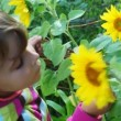 Little girl blond smells yellow flowers and smile in summer - Stock Photo