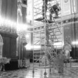 Workers do works in a temple of the Christ of the Saviour.  - Foto Stock