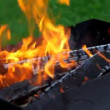 Stock Video: Flame over logs in grill, close-up