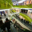 Stock Video: Customers moving on escalators in big mall shop, wide angle
