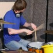 Drummer playing on drums in recording studio — Stok Video #18193943