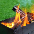 Stock Video: Flame over grill standing in yard