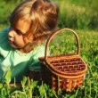 Little girl lies in grass, takes cherry from basket and eats it — Stock Video