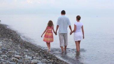 Familia de tres personas caminando en surf mar, unir las manos, a la cámara — Vídeo de stock