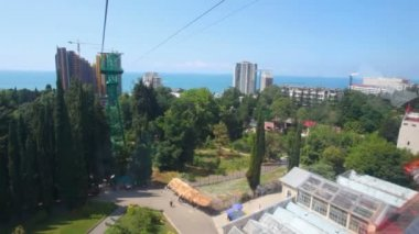 Video from moving funicular above city, sochi, russia — Stock Video