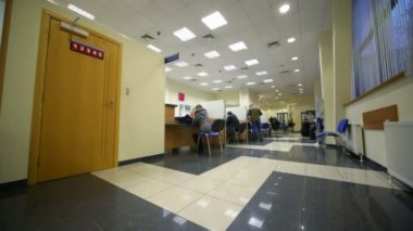 Sitting in chairs clients during consultation in bank office — 图库视频影像