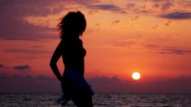 Silhouette of young dancing woman on beach, sunset sea and sky in background — Stockvideo