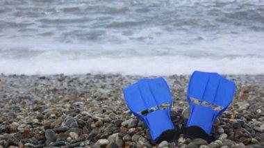 Estrella de mar que está parado en la costa de guijarros, ola de surf mar de fondo — Vídeo de Stock