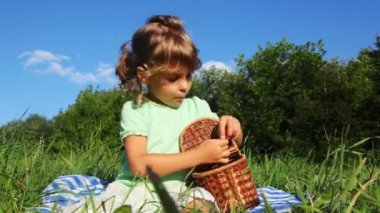 Girl sits on lawn near forest eats sweet cherry from basket — Stock Video