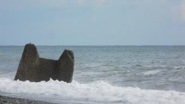 Surfear olas del mar rompen contra la roca en pebble beach — Vídeo de Stock