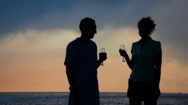 Silhouettes of man and woman with goblets drinking champagne and kissing — Stock Video