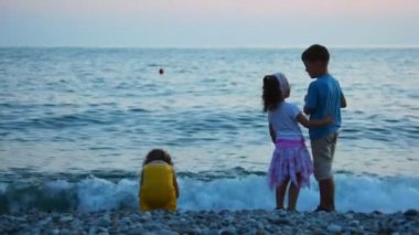 Kids throwing pebbles to sea, standing in pebble beach — Stock Video