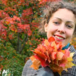 Portrait of smiling young woman with autumn leaves in park — Stock Video #19480659