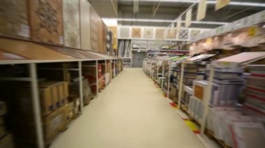 Moving camera in building material store — Stock Video