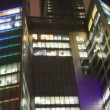 Floors of office building centre business in Moscow at night — Stock Video