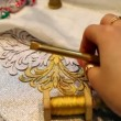 Female hand embroider with gold thread and lace needle on fabric — Stock Video #26756085