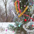 Decorated Christmas tree outdoor during snowfall — Stock Video #26756311
