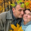 Stock Video: Old man and old woman in autumnal forest