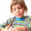 Girl holds communicator in her hands — Stock Video