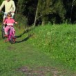 Man and girl riding bicycles in park — Wideo stockowe