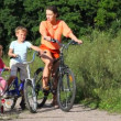 Family of three with bicycles in field — Stock Video