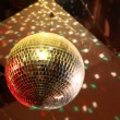 Rotating mirror disco ball in night club — Stock Video