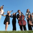 Six musicians plays music on stringed instruments — Vidéo