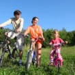 Family with daughter sits on bicycles and talks — Stock Video