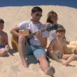 Family with guitar and harmonica singing on beach — Stock Video