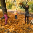 Family throwing leaves in park — Stock Video
