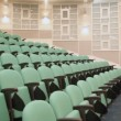 Empty green armchairs in lecture hall — Stock Video