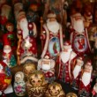 Many souvenir Russian wooden dolls, which are called Matryoshka and figures of Father Frost — Vídeo de stock