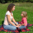 Woman and daughter sits on summer field in park — Stock Video #26758669