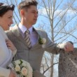 Stock Video: Bridegroom and bride stands arm-in-arm