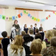 Children read oaths at dedication meeting in first-graders of school number 1349 in Moscow. — Stock Video #26759175