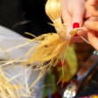 Emale hands knit from straw long plait — Stock Video