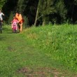 Parents helps a kids riding bicycles from camera in park — Stock Video #26759493
