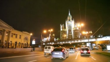 Car driving in night moscow, russia — Stock Video