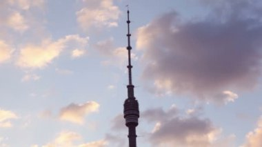 Ostankino Tower is a free-standing television and radio tower in Moscow, Russia — Stock Video