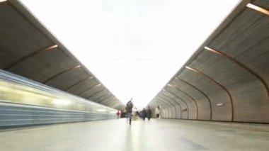 Na platformě na stanici metra dva vlaky přijíždějí a odejít. kamera uhne. časová prodleva. — Stock video