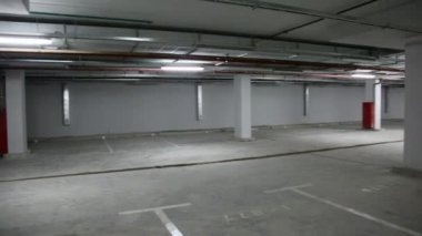 Panorama of empty underground parking — Stock Video