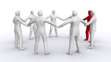 Businessmen who stand in a circle, rotate, one of men of red colour — Stock Video